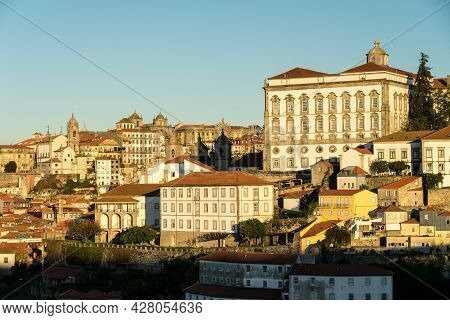 Porto, Portugal - December 02, 2019: View Of The City Of Porto At Sunrise With The Historical House