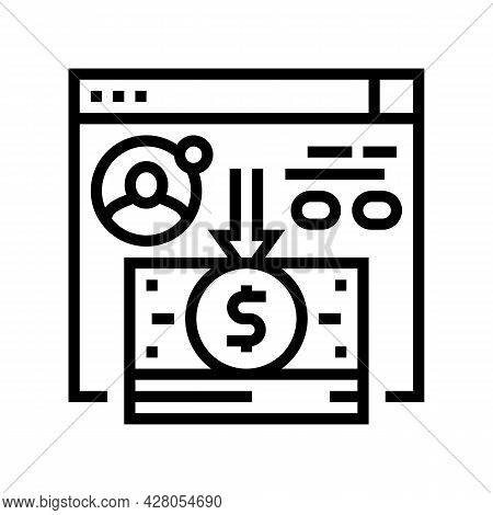 Cash Withdrawal Line Icon Vector. Cash Withdrawal Sign. Isolated Contour Symbol Black Illustration