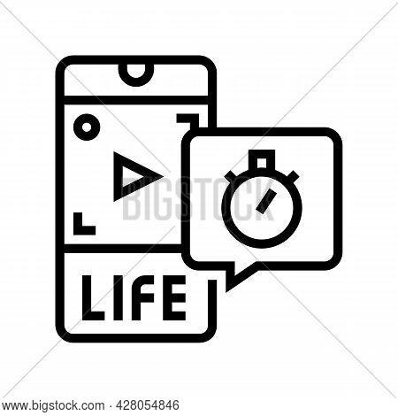 Live Video Ephemeral Line Icon Vector. Live Video Ephemeral Sign. Isolated Contour Symbol Black Illu