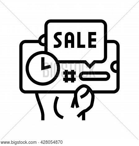 Sale Ephemeral Line Icon Vector. Sale Ephemeral Sign. Isolated Contour Symbol Black Illustration
