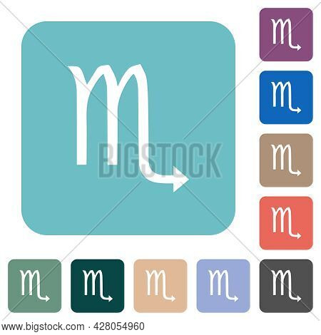 Scorpio Zodiac Symbol White Flat Icons On Color Rounded Square Backgrounds
