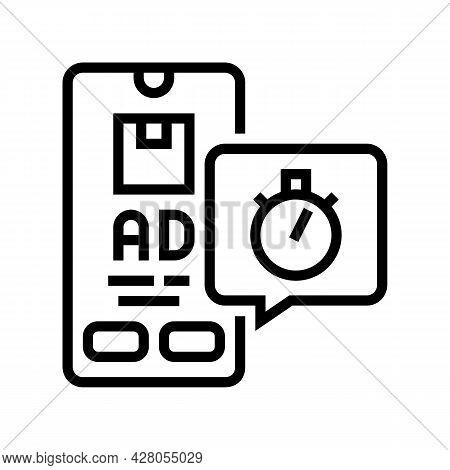 Delivering Advertise Ephemeral Line Icon Vector. Delivering Advertise Ephemeral Sign. Isolated Conto