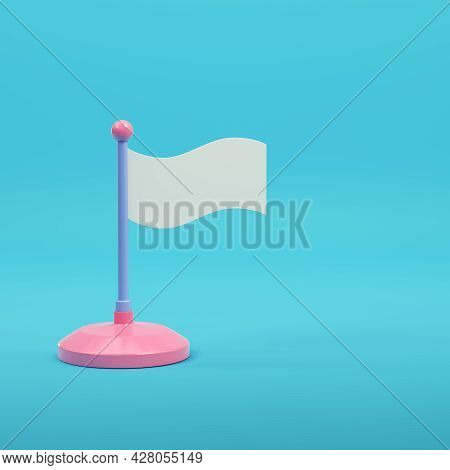 White Flag On Bright Blue Background In Pastel Colors. Minimalism Concept. 3d Render