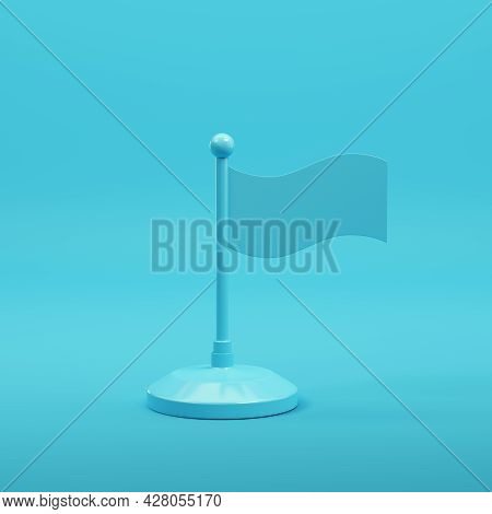 Flag On Bright Blue Background In Pastel Colors. Minimalism Concept. 3d Render