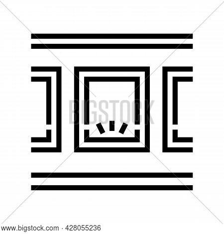 Windows Bottom Lighting Line Icon Vector. Windows Bottom Lighting Sign. Isolated Contour Symbol Blac