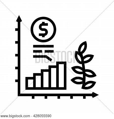 Economics Growth Line Icon Vector. Economics Growth Sign. Isolated Contour Symbol Black Illustration
