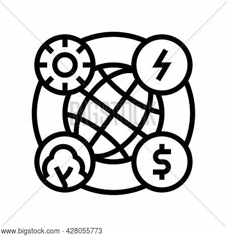 Circular Economy Line Icon Vector. Circular Economy Sign. Isolated Contour Symbol Black Illustration