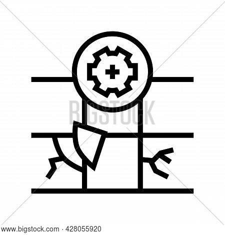 Tile Repair Line Icon Vector. Tile Repair Sign. Isolated Contour Symbol Black Illustration
