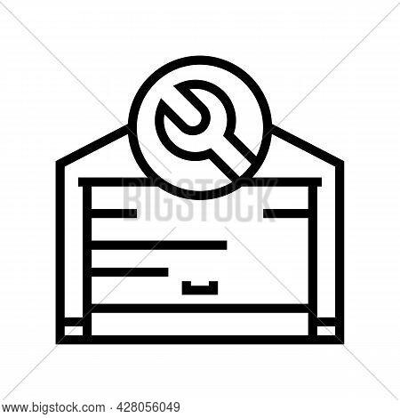 Garage Door Repair Line Icon Vector. Garage Door Repair Sign. Isolated Contour Symbol Black Illustra