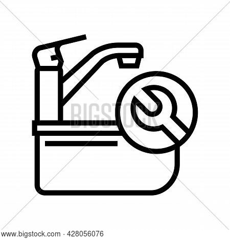 Faucet Repair Line Icon Vector. Faucet Repair Sign. Isolated Contour Symbol Black Illustration