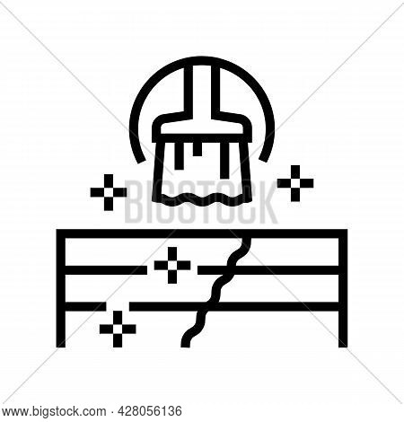 Deck And Patio Repair Line Icon Vector. Deck And Patio Repair Sign. Isolated Contour Symbol Black Il
