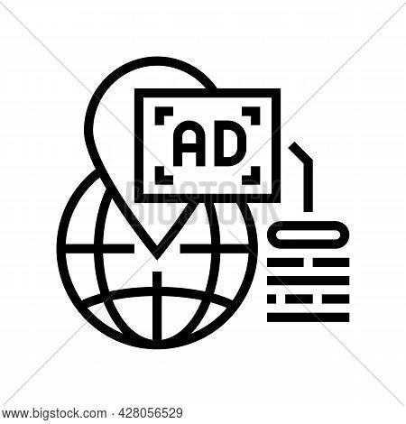 Location Advertising Line Icon Vector. Location Advertising Sign. Isolated Contour Symbol Black Illu