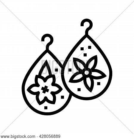 Earrings Resin Art Line Icon Vector. Earrings Resin Art Sign. Isolated Contour Symbol Black Illustra