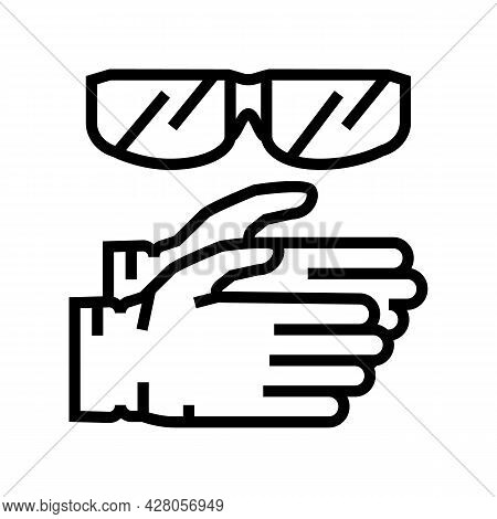 Gloves And Protective Glasses Resin Art Line Icon Vector. Gloves And Protective Glasses Resin Art Si