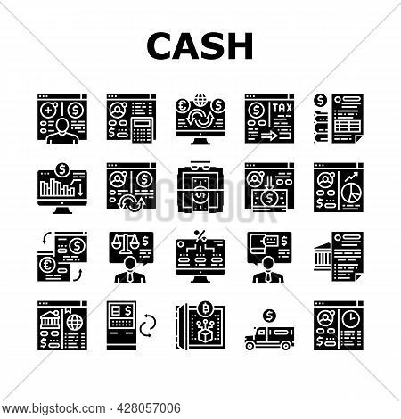 Cash Services Bank Collection Icons Set Vector. Opening Customer Account And Providing Information O