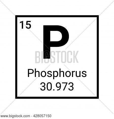 Phosphorus Chemical Element Periodic Table Icon. Phosphorus Atom Symbol Vector