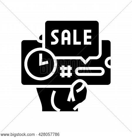 Discount Sale Card Ephemeral Glyph Icon Vector. Discount Sale Card Ephemeral Sign. Isolated Contour