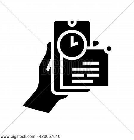 Message Ephemeral Glyph Icon Vector. Message Ephemeral Sign. Isolated Contour Symbol Black Illustrat