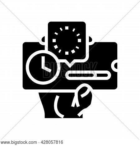 Downloading Process Ephemeral Glyph Icon Vector. Downloading Process Ephemeral Sign. Isolated Contou