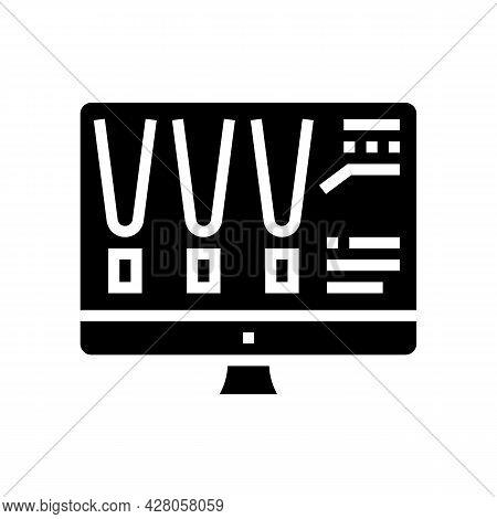 Choose Color Lighting On Computer Screen Glyph Icon Vector. Choose Color Lighting On Computer Screen