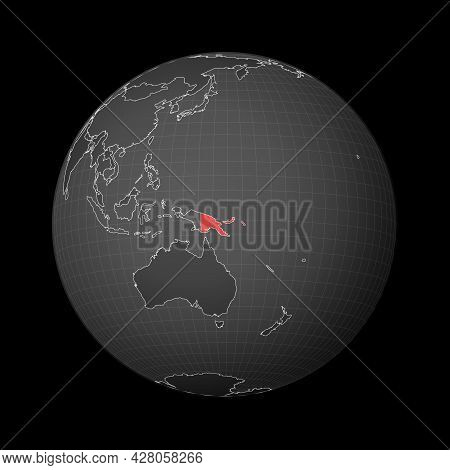Dark Globe Centered To Papua New Guinea. Country Highlighted With Red Color On World Map. Satellite