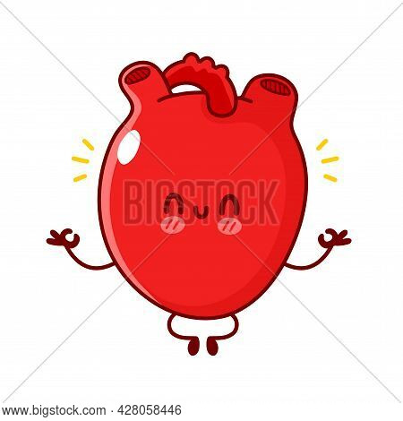 Cute Funny Human Heart Organ Meditate. Vector Flat Line Doodle Cartoon Kawaii Character Illustration