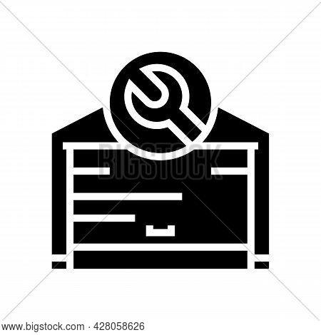 Garage Door Repair Glyph Icon Vector. Garage Door Repair Sign. Isolated Contour Symbol Black Illustr