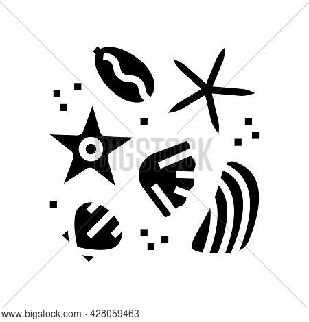 Sea Star And Shell Resin Art Glyph Icon Vector. Sea Star And Shell Resin Art Sign. Isolated Contour