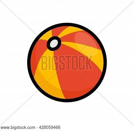 Beach Ball Flat Vector Icon. Summer Beach Ball Isolated Toy Water Ball Illustration