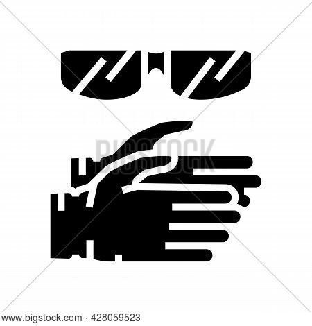 Gloves And Protective Glasses Resin Art Glyph Icon Vector. Gloves And Protective Glasses Resin Art S