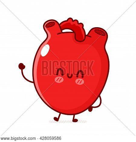 Cute Funny Human Heart Organ. Vector Flat Line Doodle Cartoon Kawaii Character Illustration Logo Ico