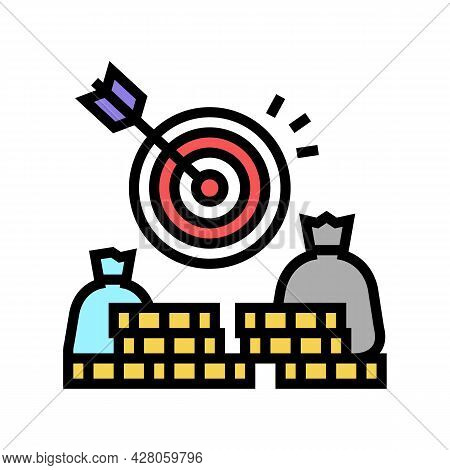 Money Earning Target Color Icon Vector. Money Earning Target Sign. Isolated Symbol Illustration