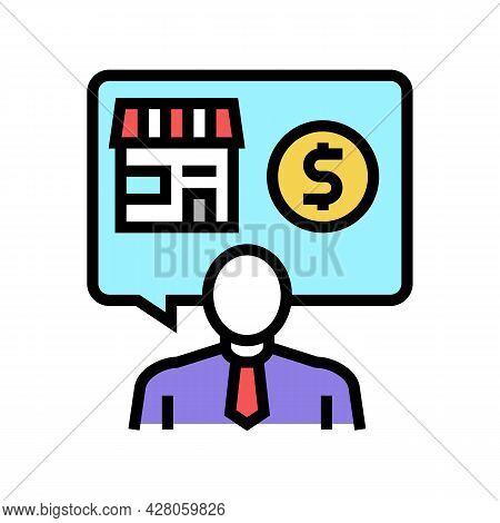 Businessman Buying Or Selling Shop Color Icon Vector. Businessman Buying Or Selling Shop Sign. Isola