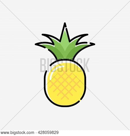 Cartoon Pineapple Vector Cute Silhouette Exotic Simple Icon. Pineapple Illustration Flat Fruit Logo