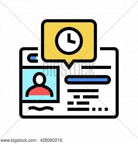 Renewal Driver License Id Card Color Icon Vector. Renewal Driver License Id Card Sign. Isolated Symb