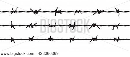 Barbed Wire Vector Fence Barbwire Border Chain. Prison Line War Barb Background Metal Silhouette
