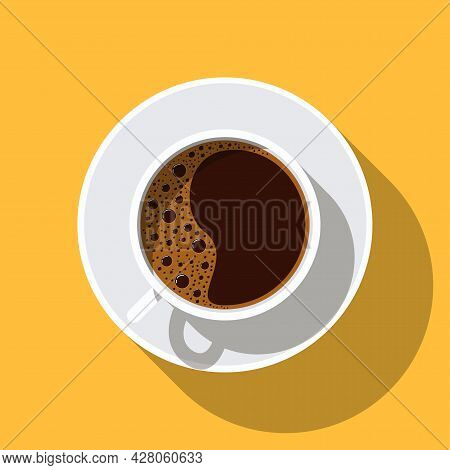 Coffee Cup With Saucer And Shadow. Top View. Hot Coffee Drink Mug - Espresso, Americano. Coffee With