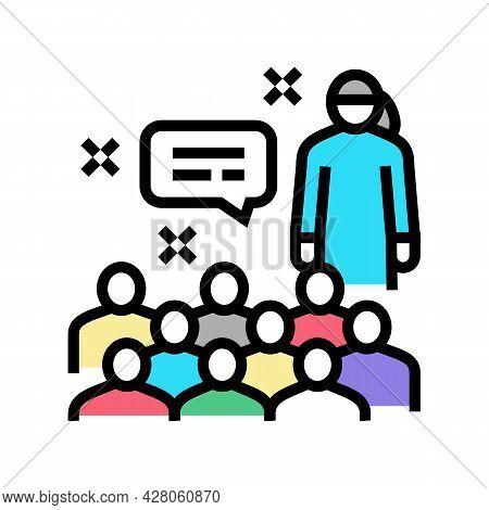 Parent-teacher Meeting Kindergarten Color Icon Vector. Parent-teacher Meeting Kindergarten Sign. Iso