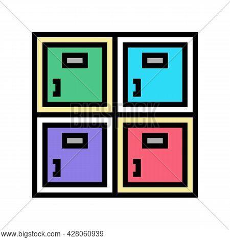 Lockers Kindergarten Color Icon Vector. Lockers Kindergarten Sign. Isolated Symbol Illustration