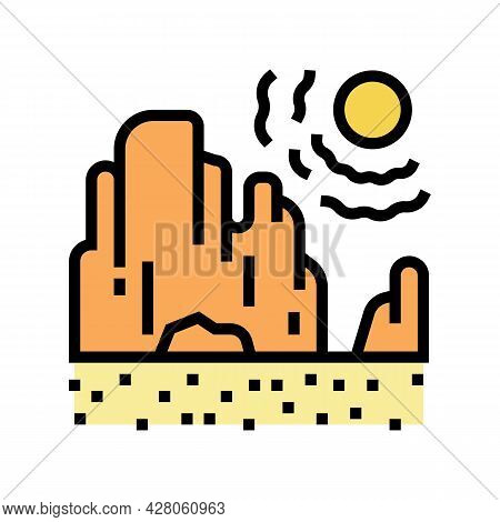 Drought Land Color Icon Vector. Drought Land Sign. Isolated Symbol Illustration