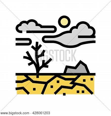 Barren Land Color Icon Vector. Barren Land Sign. Isolated Symbol Illustration