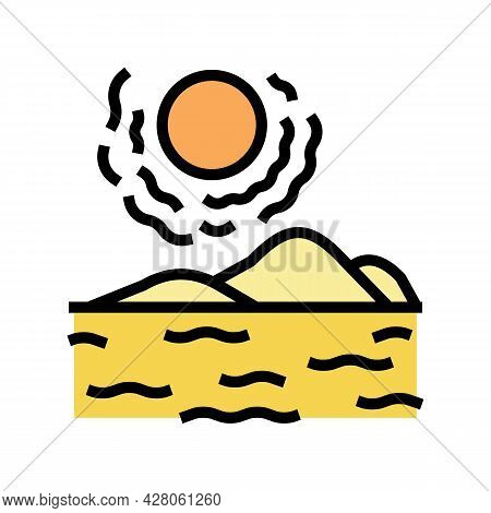 Desert Land Color Icon Vector. Desert Land Sign. Isolated Symbol Illustration