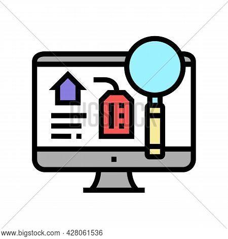 Search Rental Properties Color Icon Vector. Search Rental Properties Sign. Isolated Symbol Illustrat