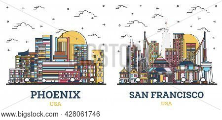Outline San Francisco California and Phoenix Arizona USA City Skyline Set with Colored Modern Buildings Isolated on White. Cityscape with Landmarks.