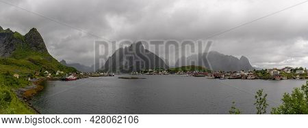 Panorama View Of The Village Of Moskenes On The Lofoten Islands In Norway On A Cloudy And Rainy Day