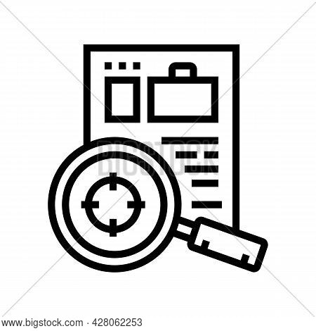 Researching Cv Or Business Case Line Icon Vector. Researching Cv Or Business Case Sign. Isolated Con