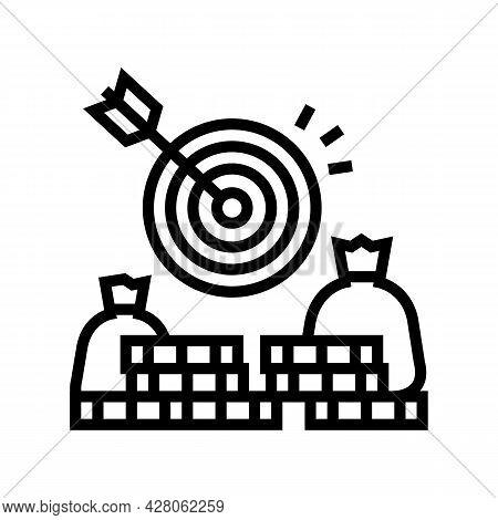 Money Earning Target Line Icon Vector. Money Earning Target Sign. Isolated Contour Symbol Black Illu
