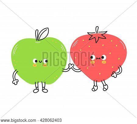 Cute Funny Strawberry And Apple Fruits. Vector Hand Drawn Cartoon Kawaii Doodle Character Illustrati