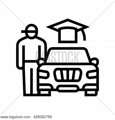 Driving Lessons For Teens Line Icon Vector. Driving Lessons For Teens Sign. Isolated Contour Symbol
