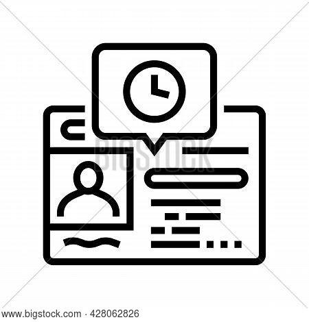 Renewal Driver License Id Card Line Icon Vector. Renewal Driver License Id Card Sign. Isolated Conto